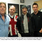 Lindsay Brown (Eagle Rock), Shaun (management), Simon Townshend, Roberto Neri (Eagle-i)