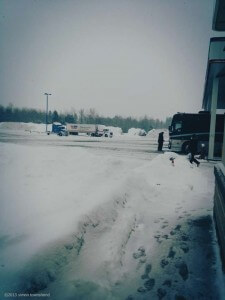 """""""Truck stop. Been driving all night in a blizzard. Still 5 hours to go - Thunder Bay (Neil Young's hometown) to Sudbury, ON. Everyone is asleep except myself and tour manager, Shaun.... and driver. Had a good night last night - another great gig to genuine music loving crowd. Next stop London... ON."""""""
