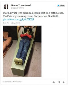 Mark has a bit of a rest in Sheffield